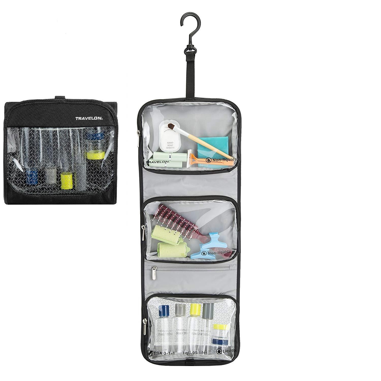 Travelon toilettilaukku + matkapullosetti, TriFold TSA friendly
